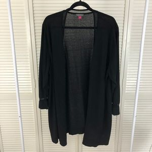 Vince Camuto Black Cardigan Knit with Mesh Accents